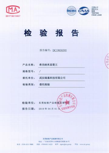上海希杰纳米真瓷王检验报告